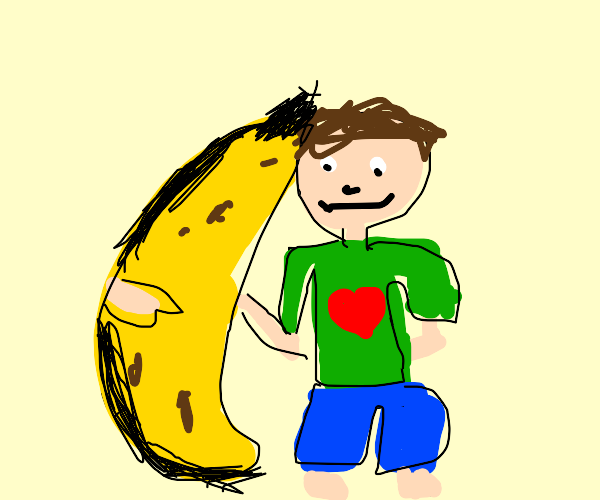 man is with a giant banana