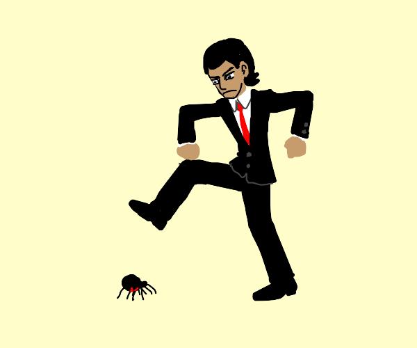 Man killing spider