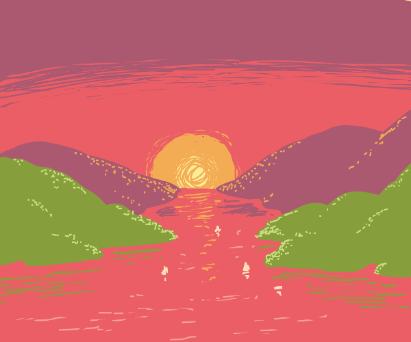 sunset behind mountains and a sea