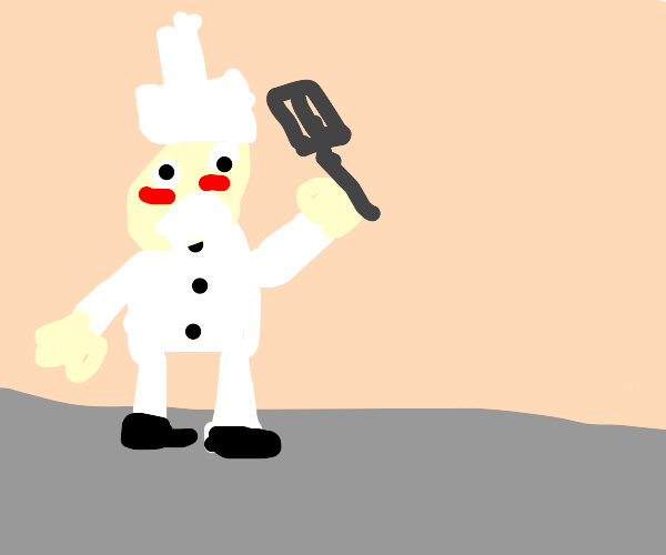 chef is embarrassed and waves his spatula