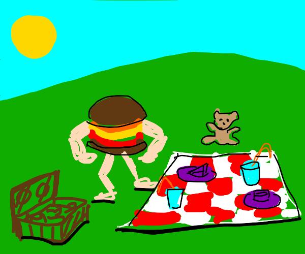 Supremely stacked burger at a Picnic