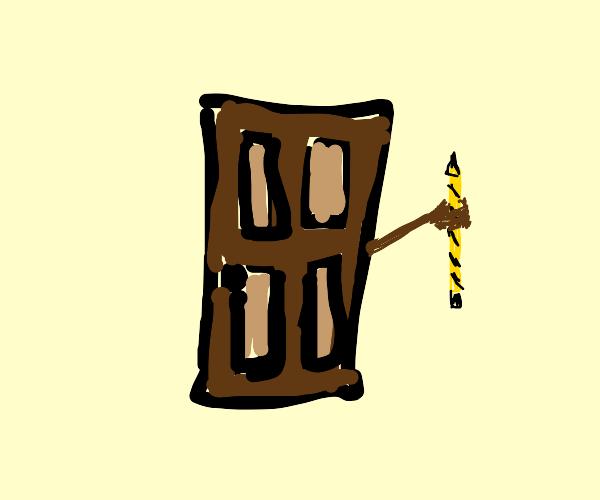a door holding a pencil