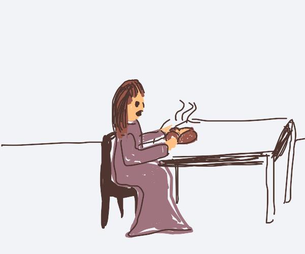 A woman eating a potato