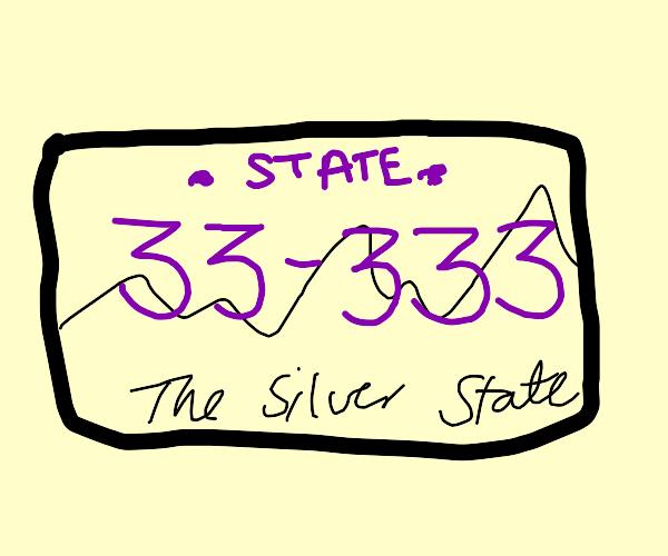 Licence plate Nevada 33-333