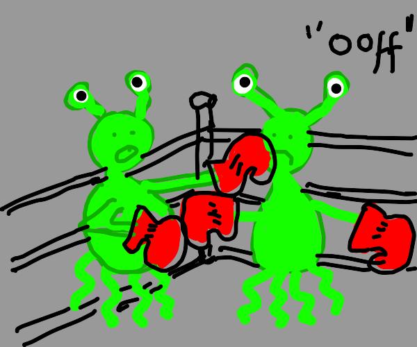 Green aliens boxing