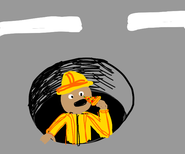 man in a manhole eating pizza