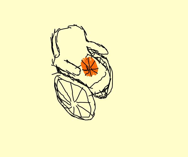 (Crippled?) basketball in a wheelchair