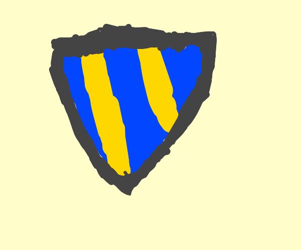 blue and yellow metal shield