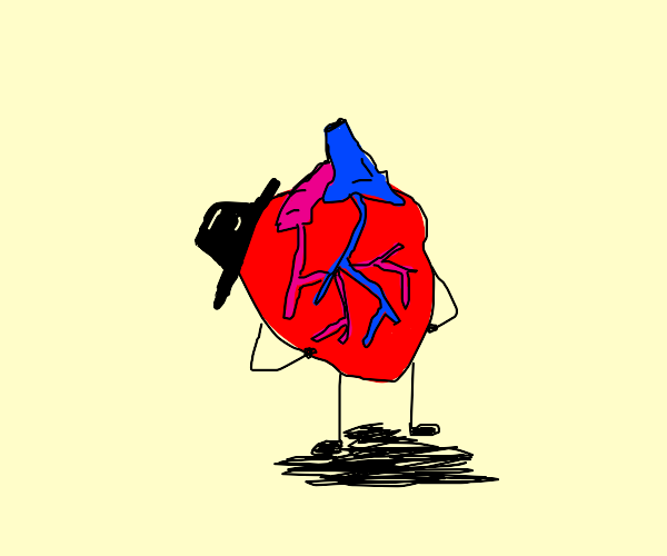 Anatomical heart with a cool hat