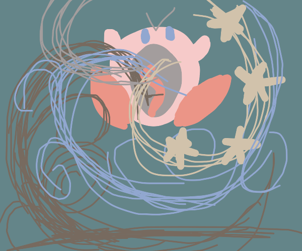 Kirby inhaling surroundings