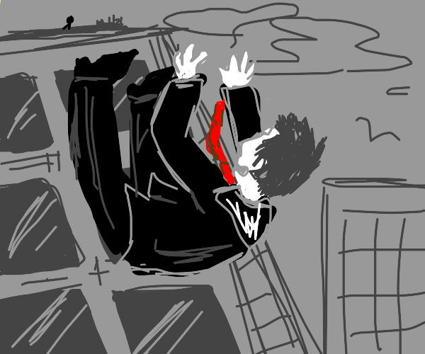 Man in a suit falls off a building