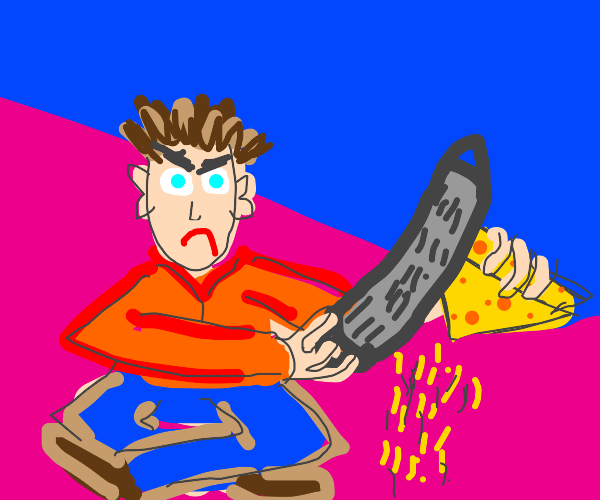 angry guy grates cheese on the floor