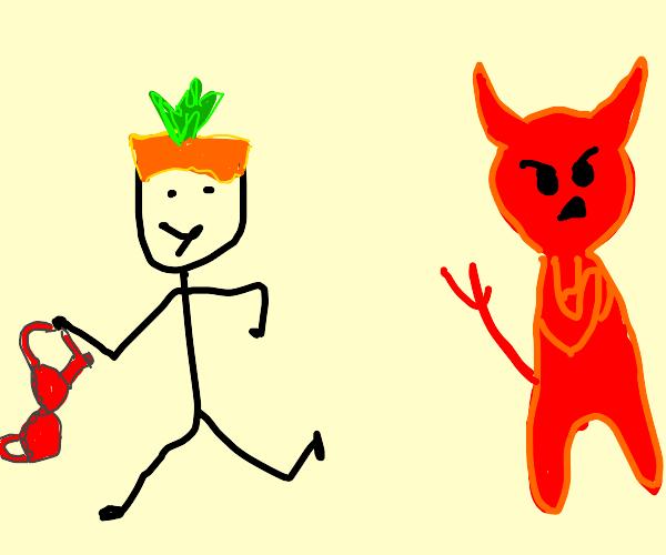 Carrot-haired punk mugs Satan's bra