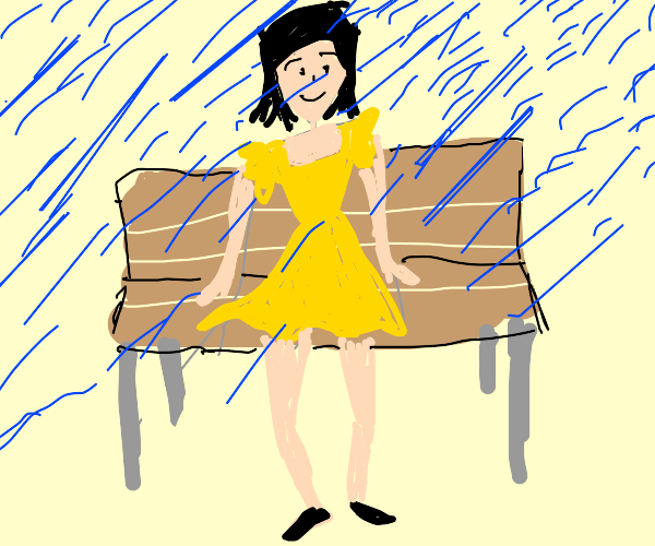 yellow dressed lady on the bench during rain