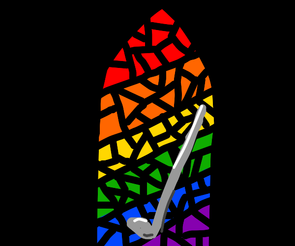 Golf club in front of rainbow stained glass