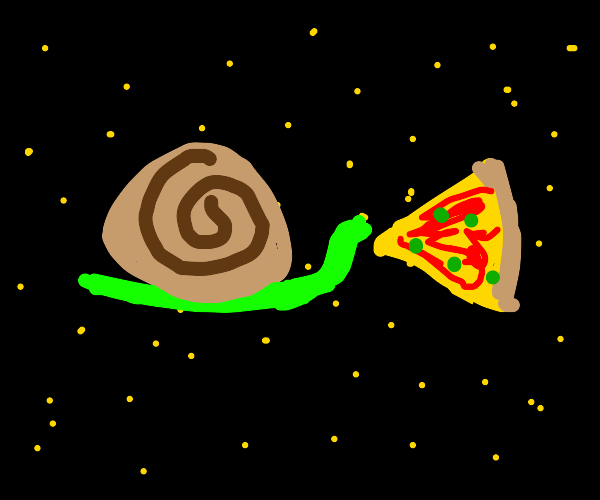 Snail in space eats pizza