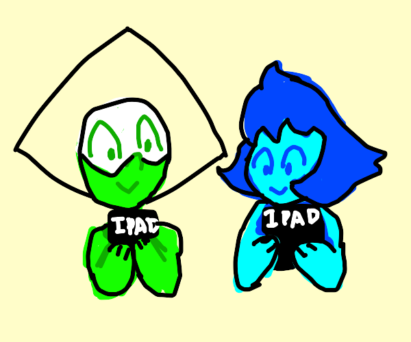Lapis and peridot on their ipads
