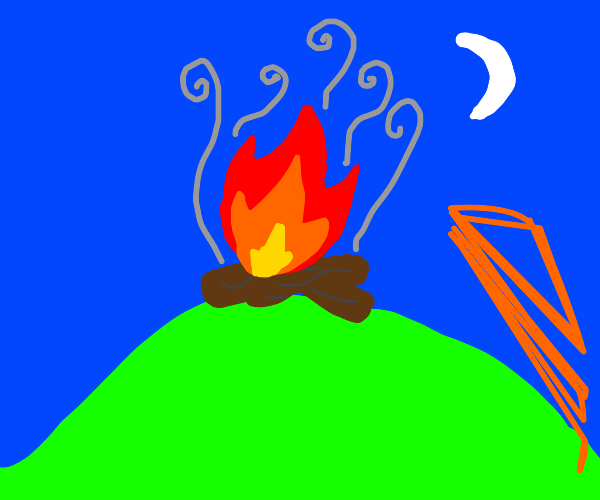 campfire on a hill