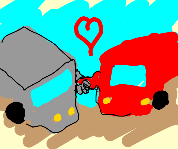 TWO TRUCKS HOLDING HANDS