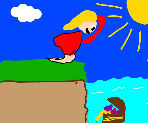 Girl looking for treasure