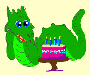 Dragon gets birthday cake