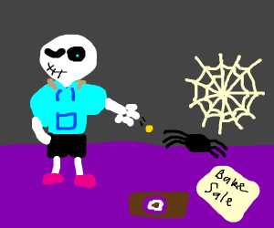 skeleton donating blood to spiders