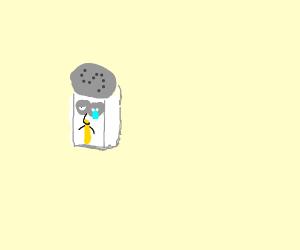 sad salt shaker with snot eruption