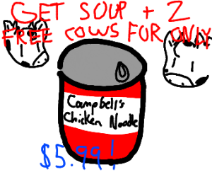 a can with chicken noodle + 2 FREE COW5 ! !