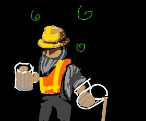 Drunken Builder with a full beard