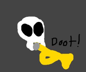 spooky trumpet skeleton