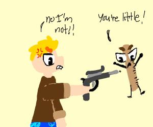 little boy shoots ruler saying he is little