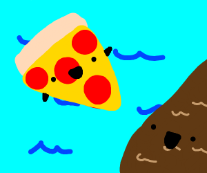 pizza and brown water in the sea