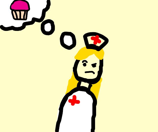 Nurse thinks about a cupcake