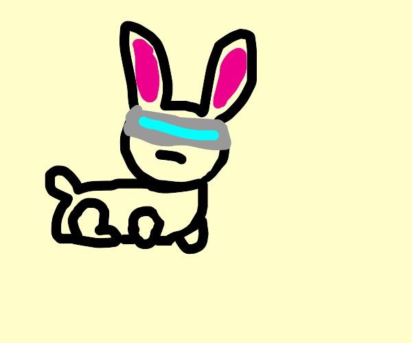 Futuristic rabbit man rubs his chin