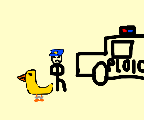 duck gets arrested by the ploice