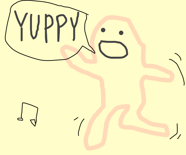 Naked man dances while screaming yuppy