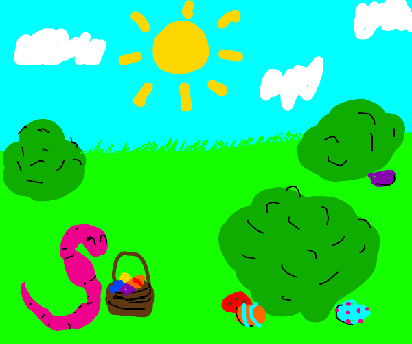 worm on an easter egg hunt