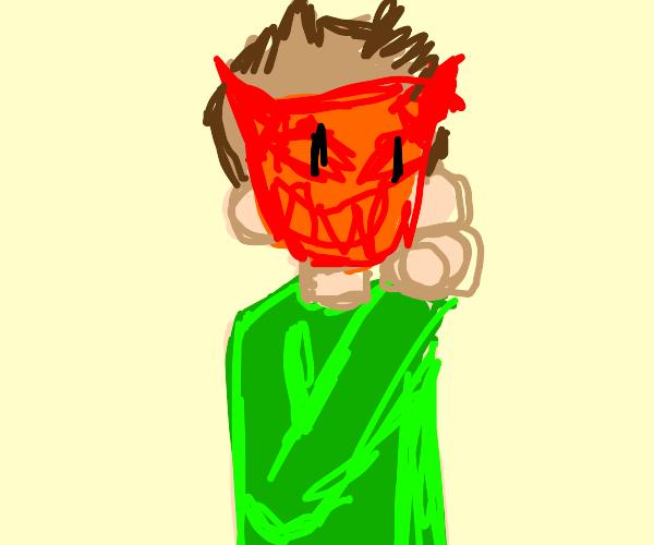 boy with green shirt wears demon mask