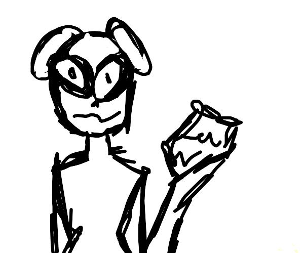An alien holding a rock