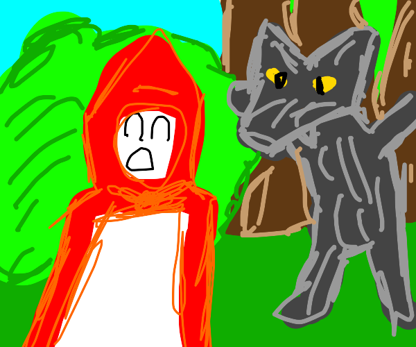 Little Red Riding Hood is scared of the wolf
