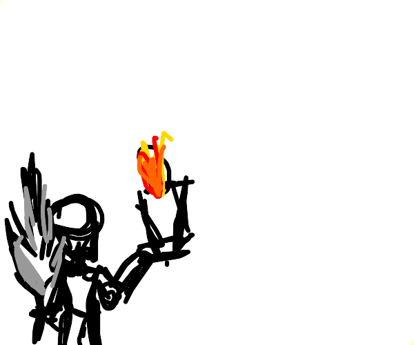 Mini man with a quill/ink and candle