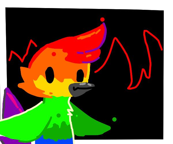 rainbow colored pheonix