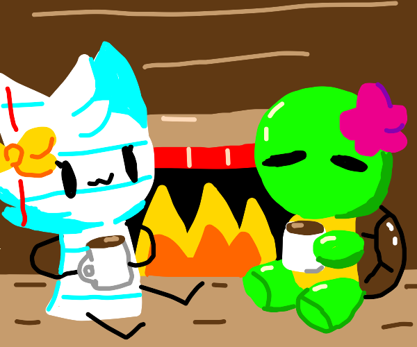 furry paper and turtle have coffee by firepla