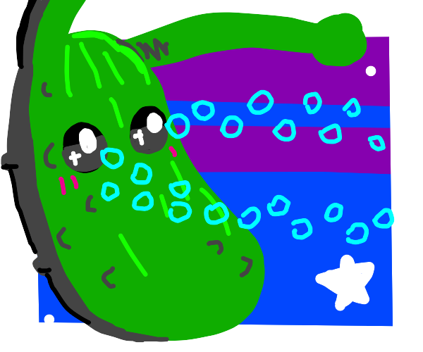 Alien pickle with bubbly laser-vision
