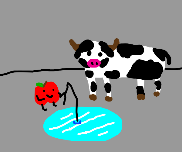 Cow and apple go fishing