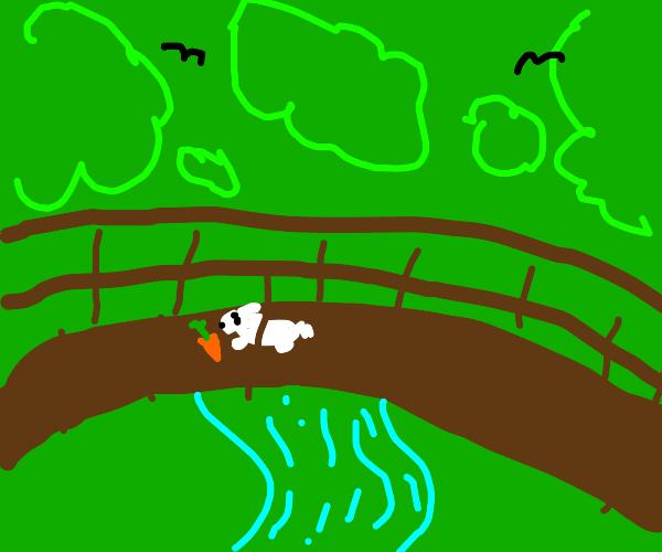bunny on a bridge