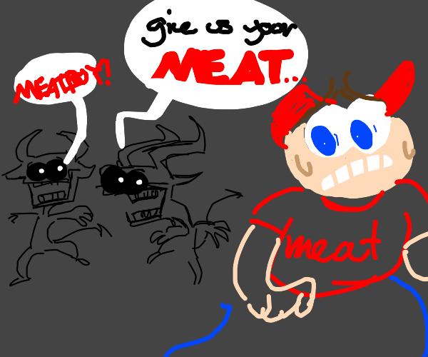 Satanic little figure scares off meat boy