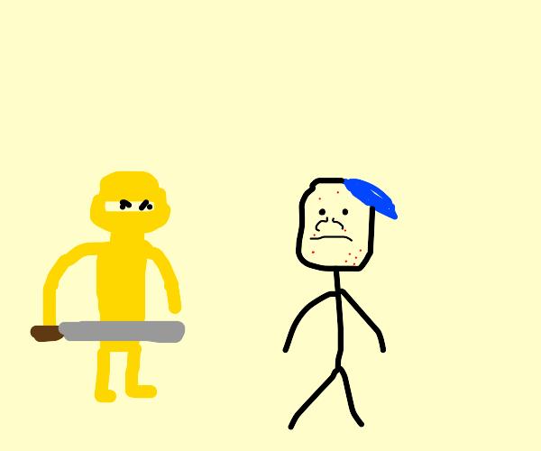 yellow ninja and their non binary friend