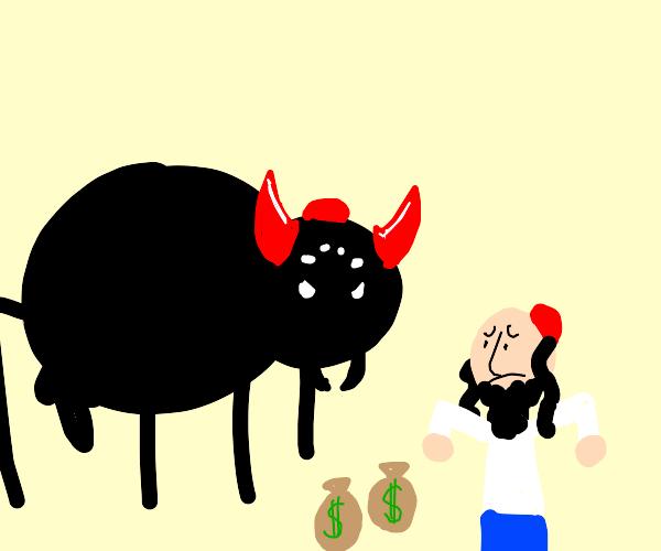 demonic spider monster attacks man