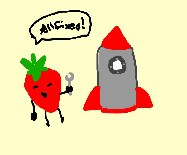 Strawberry mechanic fixing spaceship